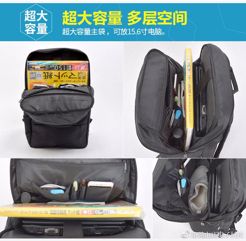 背包里有笔记本电脑放置区,带拉链的配件袋,2 个开口袋放手机和充电宝,以及 2 个笔袋